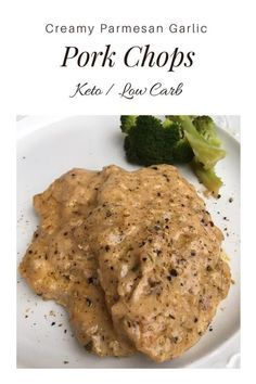 Creamy Parmesan Garlic Pork Chops {Keto / Low Carb} - This pork chop recipe is a perfect keto dinner! If you need a low carb dinner, try these creamy pork chops! Pork Recipes, Low Carb Recipes, Diet Recipes, Healthy Recipes, Simple Recipes, Cream Recipes, Shrimp Recipes, Lunch Recipes, Healthy Meals