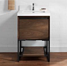 "Strong architectural lines give the M4 vanity a confident, sophisticated air. It comes free standing or wall mounted; with integrated sink or sporty vessel design. Adding pure luxe are two striking finishes: Natural Walnut and Glossy White. Push-open drawers reveal a concealed drawer in the 36"" cabinet and a hidden shelf in the 24""-30"" models. …"