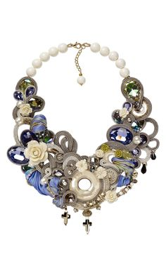 Jewelry Design - Bib-Style Necklace with Swarovski Crystal, Resin Beads and Soutache Cord - Fire Mountain Gems and Beads