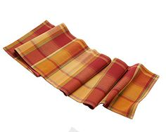"Harvest Season Orange Plaid Fall Table Runner - 13"" X 72""…"