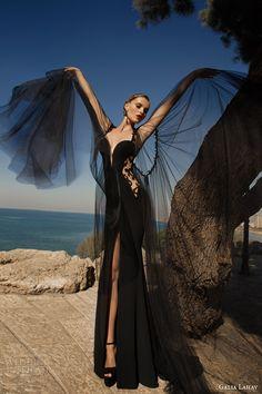 galia lahav 2014 moonstruck venus evening gown black lace back wedding dress cape sleeves