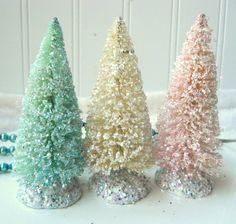 3  Bottle Brush vintage style Christmas trees by hopeandjoystudios, $15.00