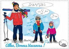 """""""Vacances en famille au ski"""" par Claire S2C pour Une Souris à Paris Cheap Travel, Skiing, Family Guy, Barbie, Fictional Characters, Illustrations, Humor, Family Vacations, Computer Mouse"""