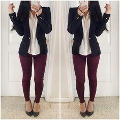 Resultado de imagen para outfits con jeans burgundy