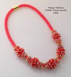 "TUTORIAL ONLY - ""Mango Madness"" Kumihimo Necklace for Kumihimo Disk or Marudai"