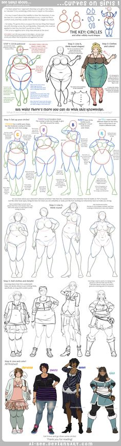 Examples on how to draw girls with curves