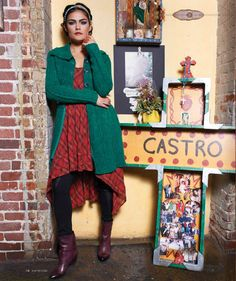 "Fall fashion inspired by Frida Kahlo / ""From Frida's Perspective"" / B-Metro Magazine, October 2013 / Photography by Chuck St. John, styled by Mindi Shapiro #fridakahlo #frida #artist #fashion #fall #october #sweater #braids #mexico #cantina  #birmingham #bmetro"