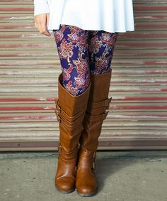Blue & Red Arabesque Leggings - Women / more colors