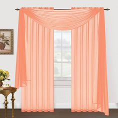 Editex Home Textiles Monique Sheer Window Scarf, 55 by 216-Inch, Peach