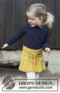 Sunny Hug / DROPS Children - Free knitting patterns by DROPS Design, DROPS Children - Knitted skirt with lace pattern and crochet edge for children, worked top down. The piece is worked in DROPS. Baby Knitting Patterns, Knitting For Kids, Lace Knitting, Crochet For Kids, Crochet Patterns, Crochet Cardigan, Knit Skirt, Knit Crochet, Lace Skirt