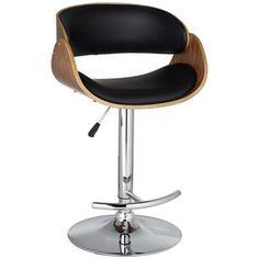Kaffina Adjustable Black and Wood Barstool -