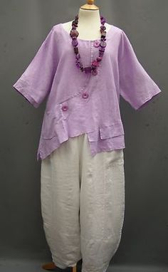 German ~LILAC ~ linen Boxy Asymmetrical Top ~ 20-24/26