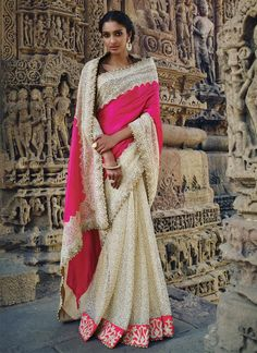 Fantastic Velvet Hot Pink Patch Border Work Designer Saree