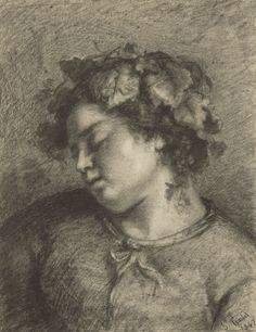 Head of a Sleeping Bacchante; Gustave Courbet (French, 1819 - 1877); 1847; Fabricated black chalk with stumping, lifting, and scratching; 50.2 x 38.7 cm (19 3/4 x 15 1/4 in.); 99.GE.43
