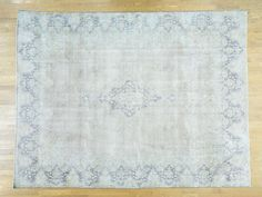 "9'8""x12'10"" Hand-Knotted White Wash Zero Pile Shaved Thin Kerman Rug Sh34455"