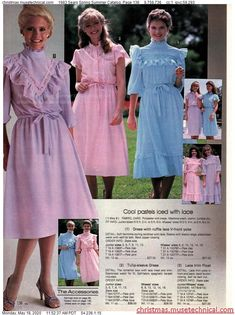 1983 Sears Spring Summer Catalog, Page 136 - Christmas Catalogs & Holiday Wishbooks 80s Girl Fashion, Retro Fashion, Vintage Fashion, Women's Fashion, Fashion Tips, Vintage Style Dresses, Vintage Outfits, 20th Century Fashion, Unique Fashion