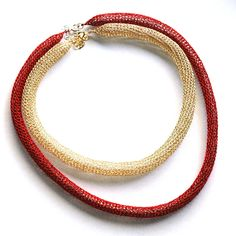 Wire crochet Layered necklace Gold red knitted wire necklace The necklaces are handmade crocheted and has a modern young look. The gold necklace is long , made of yellow gold filled , the re Diy Jewelry Making, Jewelry Making Supplies, Bangle Bracelets, Jewelry Necklaces, Wire Jewelry Designs, Layered Necklace, Gold Necklace, Wire Crochet, Crochet Earrings