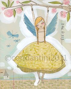 whimsical watercolor painting of a girl with wings, hanging from branch  - 8 x 10 - archival and limited edition print by cori dantini. $20.00, via Etsy.