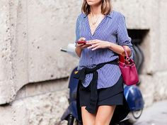 Relaxed fit stripe button up worn with a black mini skirt Womens Clothing Stores, Clothes For Women, Casual Street Style, Who What Wear, Spring Summer Fashion, Style Summer, Mini Skirts, My Style, How To Wear