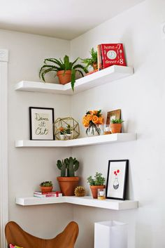 Use L-shaped shelves to utilize a corner.
