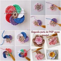 crochet pinterest flowers - Pesquisa Google