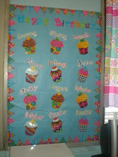 Birthday Board, just add pictures of students! Doing this next year. Love all the poppin patterns. Goes great with my chevron theme!!