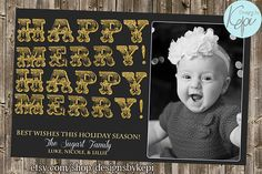 Glitter Holiday Card- Happy Merry