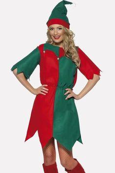 #Adult Unisex Jolly Elf KIT Natale Santas Helper Costume Vestito