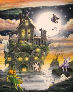 Folk Art HaLloWeEN HaUnTeD HoUsE PRINT Haunted Swamp by sunbyrum, $10.99