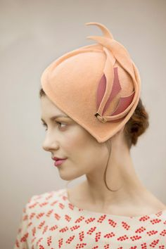 Pastel Cocktail Hat in Apricot Felt A Chic by MaggieMowbrayHats