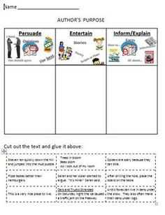 Author's Purpose Printable Worksheet Cut and Sort