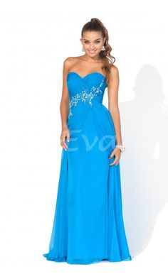 Unique Strapless Sweetheart Open Back Chiffon Prom Evening Dresses with Beaded.$189.95