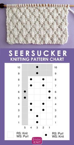 The Seersucker Stitch Knitting Pattern creates textured rows of raised puckered diamonds with an easy Repeat of knits and purls. - Tricot The Seersucker Stitch Knitting Pattern creates textured rows of raised puckered diamonds with an easy Repeat of kn. Knitting Charts, Easy Knitting, Knitting For Beginners, Knitting Stitches, Knitting Patterns Free, Sock Knitting, Knitting Machine, Vintage Knitting, Start Knitting