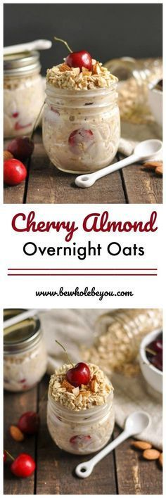 Breakfast is so important so don't skip it because you have no time. Make these Cherry Almond Overnight Oats ahead of time and you will have a healthy breakfast ready and waiting in the morning! What's For Breakfast, Healthy Breakfast Recipes, Breakfast Fruit, Healthy Recipes, Drink Recipes, Overnight Oatmeal, Overnight Breakfast, Keto, Oatmeal Recipes