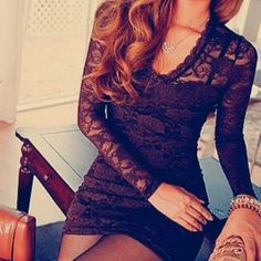 long sleeve lace dress - demure!