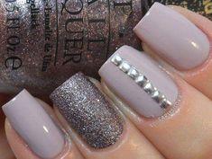 Dazzling Silver Beads Adorn Glitter Nude Nails #glitternails #naildesigns #blacknails