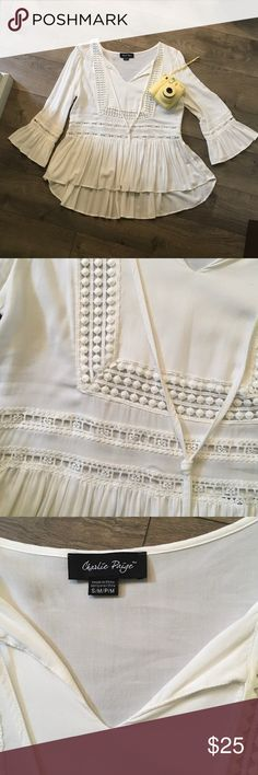 SOFT WHITE BOHO STYLE TOP (NWOT) SUPER SOFT , washed but NEVER WORN, too cute to just hang in my closet need to purge!!!! High low hem line loosely fitted around waist. Cute eyelet open weave embellishments. Charlie Paige Tops