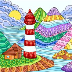 Guarding the Shore Art Drawings For Kids, Drawing For Kids, Painting For Kids, Easy Drawings, Art For Kids, Lighthouse Art, Back Art, Happy Colors, Painting Patterns