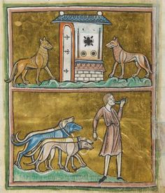 Animal detail from medieval illuminated manuscript - British Library Royal MS 12 F XIII - c 1230-14th century - f29v