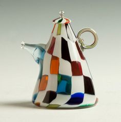 "Richard Marquis (American, B. ""Crazy Quilt"" Glass Teapot Form.Sgn. 1979 Marquis. Ht."