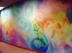 Waldorf School on the Roaring Fork mural by Charles Andrade Lazure Painting, Mural Painting, Stencil, School Murals, Mural Wall Art, Rainbow Wall, Chalk Pastels, Living Room Paint, Wall Colors