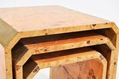 Lot # : 89 - MILO BAUGHMAN STYLE BURLWOOD NESTING TABLES