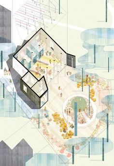 Montpelier Community Nursery / AY Architects BB / Yo Yamagata Architects Turning Pink W // Leong Leong Architecture Architecture Graphics, Architecture Drawings, Architecture Plan, Installation Architecture, Axonometric Drawing, Architecture Visualization, Technical Drawing, Photomontage, Drawing Sketches