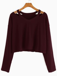Burgundy Cut Out Neck T-shirt — 0.00 € --------------------------color: Burgundy size: one-size