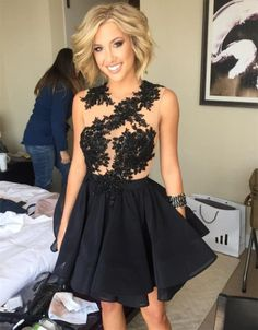 Simpledressy Newest Black Lace Appliques 2016 Cocktail Dress Jewel Sleeveless Short