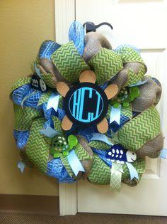 TORIA'S TURTLES   turtle reef theme burlap chevron deco mesh baby boy wreath - for my little sister