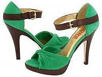 Green and Brown Open Toe High Heel Sandals