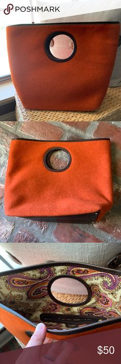 9a2079a4579ed1 Kate Spade Burnt Orange Purse Large, wool, burnt orange/rust, handbag with  a cute paisley interior and leather trim. Bag has been stored in dust bag  and ...
