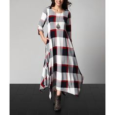 Reborn Collection White Plaid Handkerchief Maxi Dress ($45) ❤ liked on Polyvore featuring plus size women's fashion, plus size clothing, plus size dresses, plus size, white maxi dress, women's plus size dresses, tall dresses, plaid maxi dress and tall maxi dresses