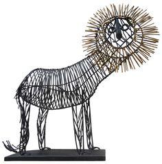 Wire Lion Sculpture on Chairish.com